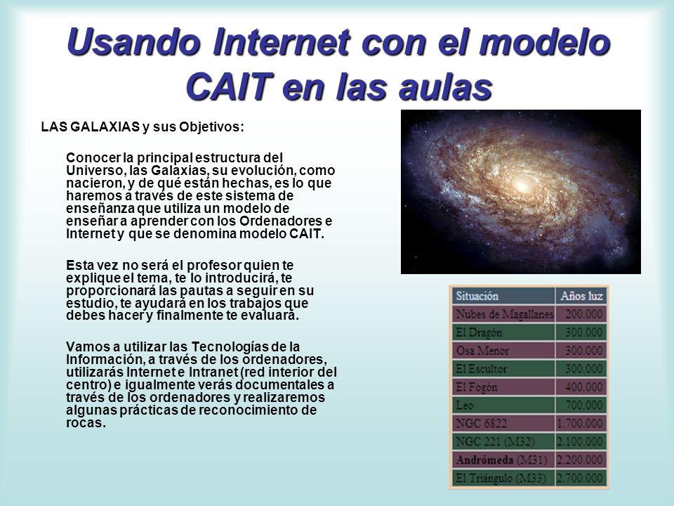Usando Internet con el modelo CAIT en las aulas LAS GALAXIAS y sus Objetivos: Conocer la principal estructura del Universo, las Galaxias, su evolución