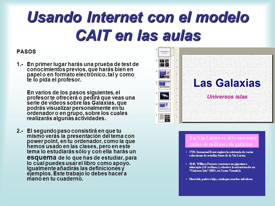 Usando Internet con el modelo CAIT en las aulas PASOS 1.- En primer lugar harás una prueba de test de conocimientos previos, que harás bien en papel o
