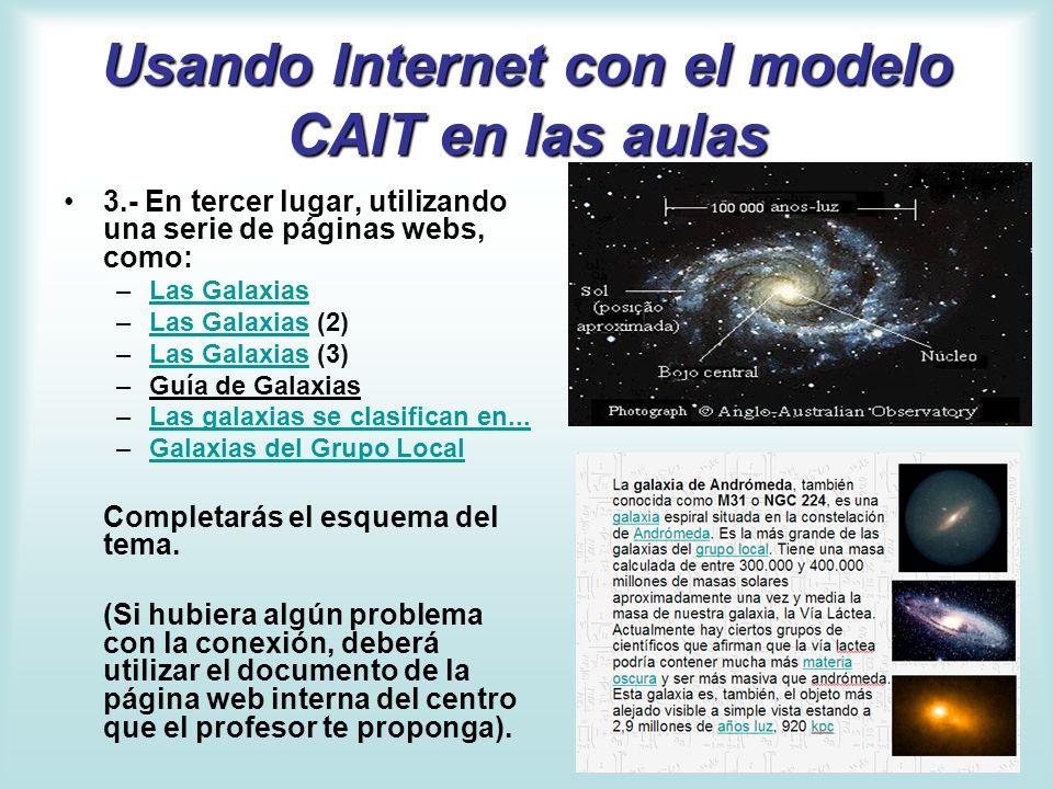 Usando Internet con el modelo CAIT en las aulas 3.- En tercer lugar, utilizando una serie de páginas webs, como: –Las GalaxiasLas Galaxias –Las Galaxi