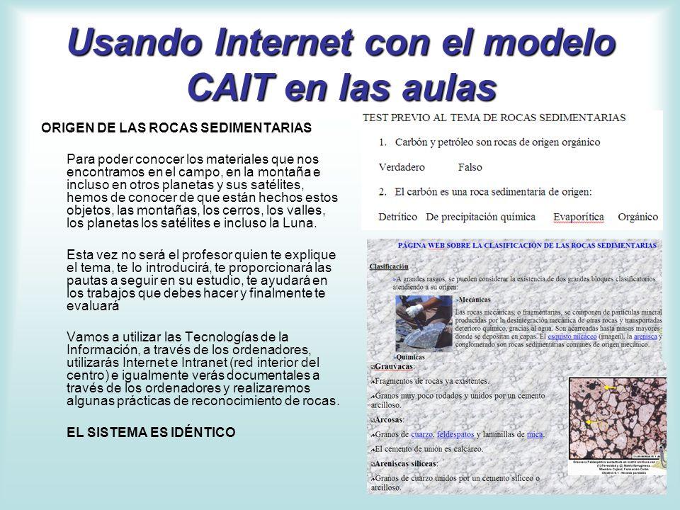 Usando Internet con el modelo CAIT en las aulas ORIGEN DE LAS ROCAS SEDIMENTARIAS Para poder conocer los materiales que nos encontramos en el campo, e