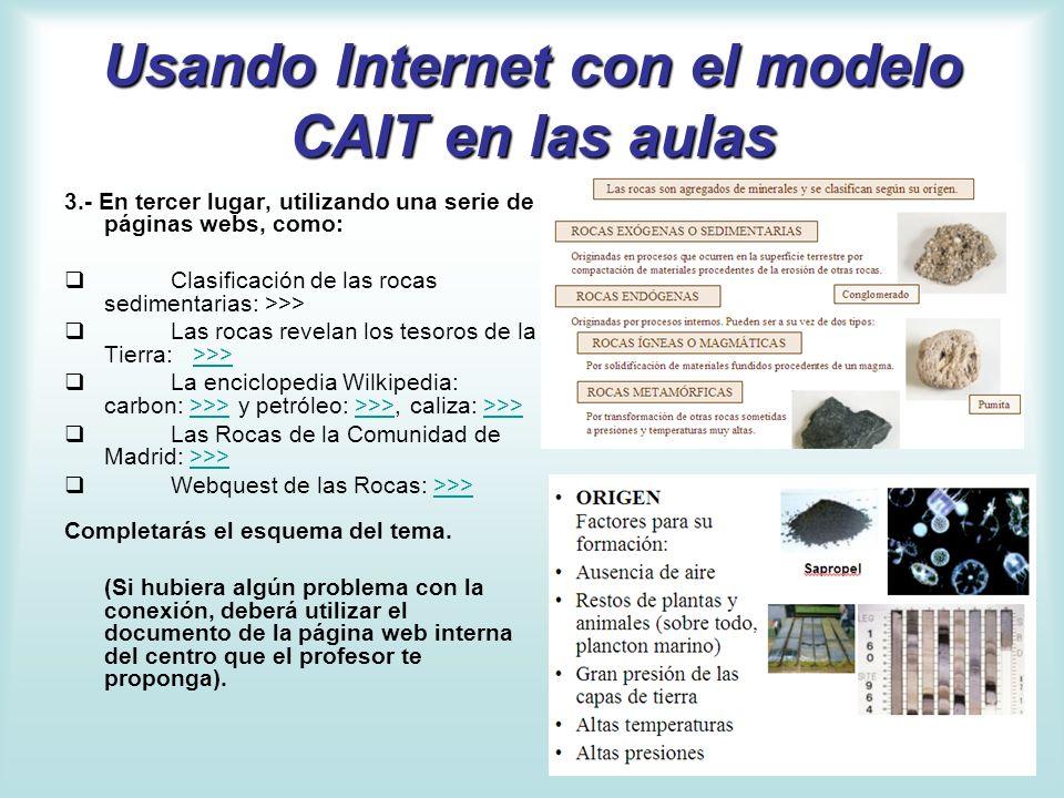 Usando Internet con el modelo CAIT en las aulas 3.- En tercer lugar, utilizando una serie de páginas webs, como: Clasificación de las rocas sedimentar