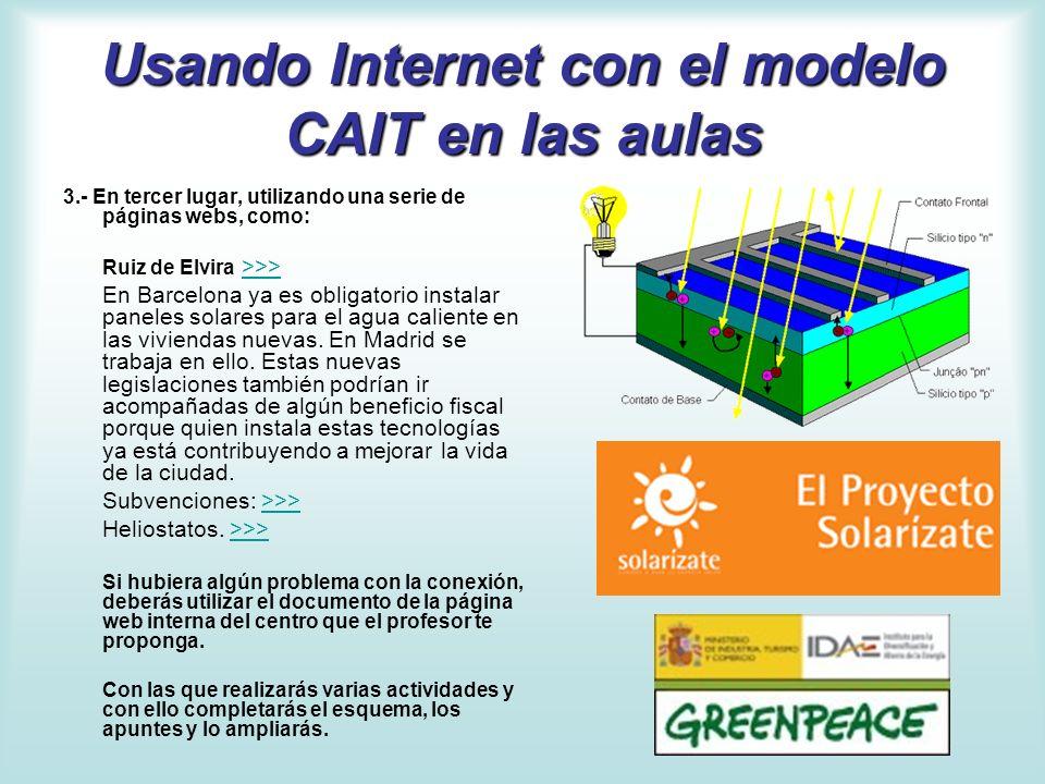 Usando Internet con el modelo CAIT en las aulas 3.- En tercer lugar, utilizando una serie de páginas webs, como: Ruiz de Elvira >>>>>> En Barcelona ya