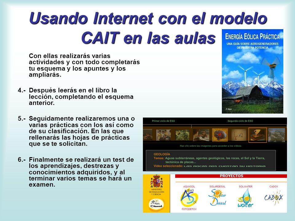 Usando Internet con el modelo CAIT en las aulas Con ellas realizarás varias actividades y con todo completarás tu esquema y los apuntes y los ampliará
