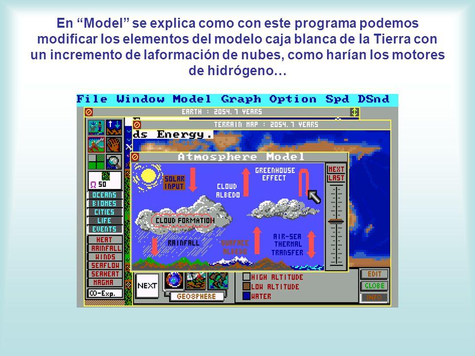 En Model se explica como con este programa podemos modificar los elementos del modelo caja blanca de la Tierra con un incremento de laformación de nub