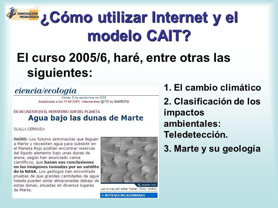 ¿Cómo utilizar Internet y el modelo CAIT? El curso 2005/6, haré, entre otras las siguientes: 1. El cambio climático 2. Clasificación de los impactos a