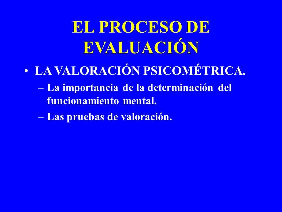 EL PROCESO DE EVALUACIÓN LA VALORACIÓN PSICOMÉTRICA. –La importancia de la determinación del funcionamiento mental. –Las pruebas de valoración.