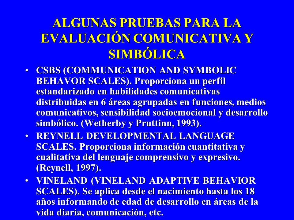 ALGUNAS PRUEBAS PARA LA EVALUACIÓN COMUNICATIVA Y SIMBÓLICA CSBS (COMMUNICATION AND SYMBOLIC BEHAVOR SCALES). Proporciona un perfil estandarizado en h