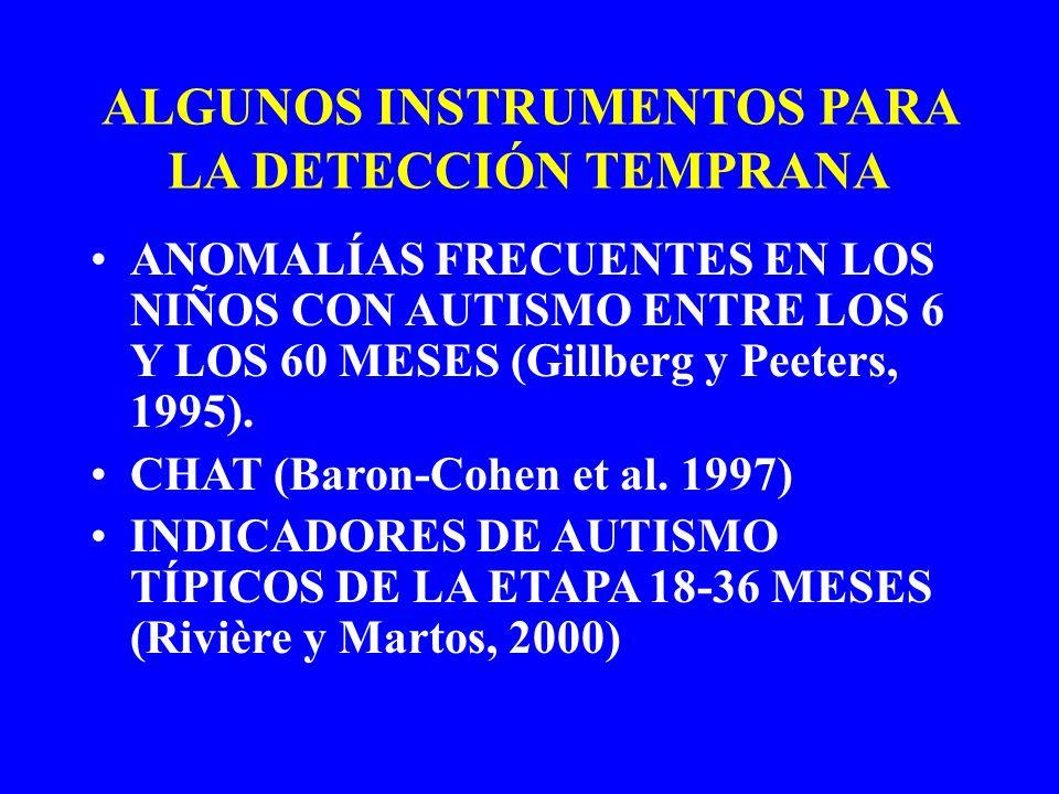ALGUNOS INSTRUMENTOS PARA LA DETECCIÓN TEMPRANA ANOMALÍAS FRECUENTES EN LOS NIÑOS CON AUTISMO ENTRE LOS 6 Y LOS 60 MESES (Gillberg y Peeters, 1995). C