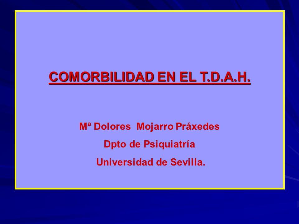 COMORBILIDAD EN EL T.D.A.H. Mª Dolores Mojarro Práxedes Dpto de Psiquiatría Universidad de Sevilla.