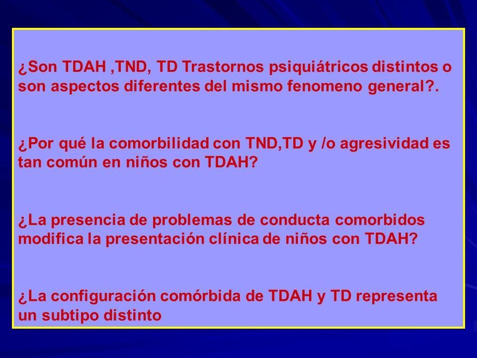 ¿Son TDAH,TND, TD Trastornos psiquiátricos distintos o son aspectos diferentes del mismo fenomeno general?. ¿Por qué la comorbilidad con TND,TD y /o a
