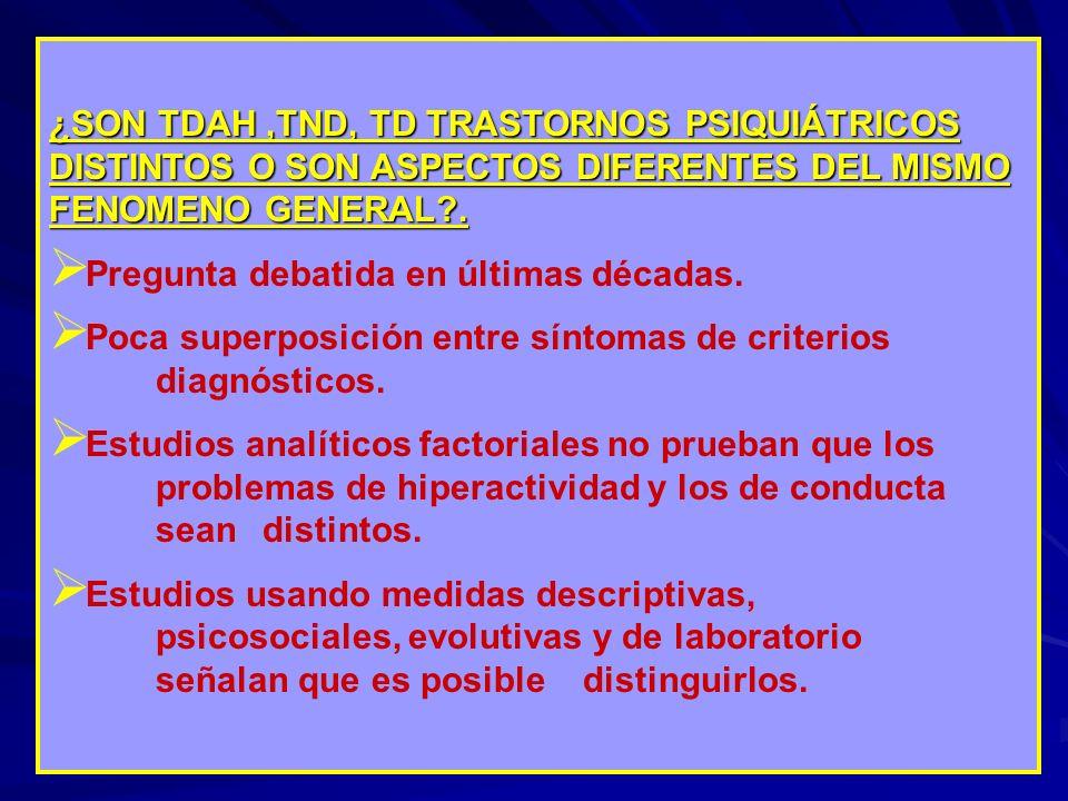 ¿SON TDAH,TND, TD TRASTORNOS PSIQUIÁTRICOS DISTINTOS O SON ASPECTOS DIFERENTES DEL MISMO FENOMENO GENERAL?. Pregunta debatida en últimas décadas. Poca