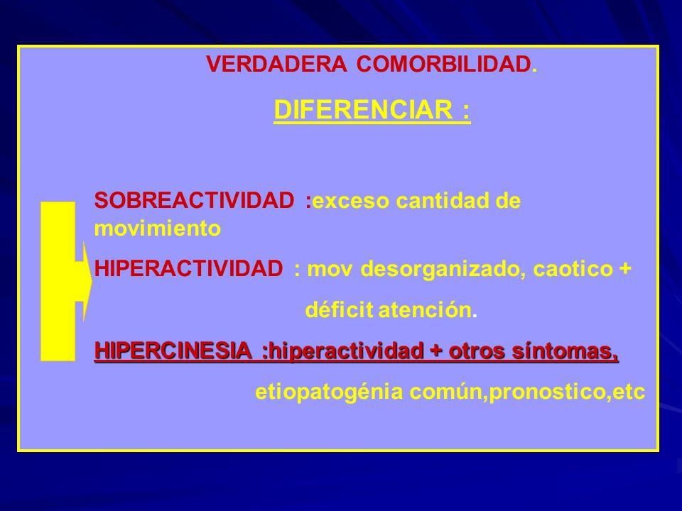 VERDADERA COMORBILIDAD. DIFERENCIAR : SOBREACTIVIDAD :exceso cantidad de movimiento HIPERACTIVIDAD : mov desorganizado, caotico + déficit atención. HI