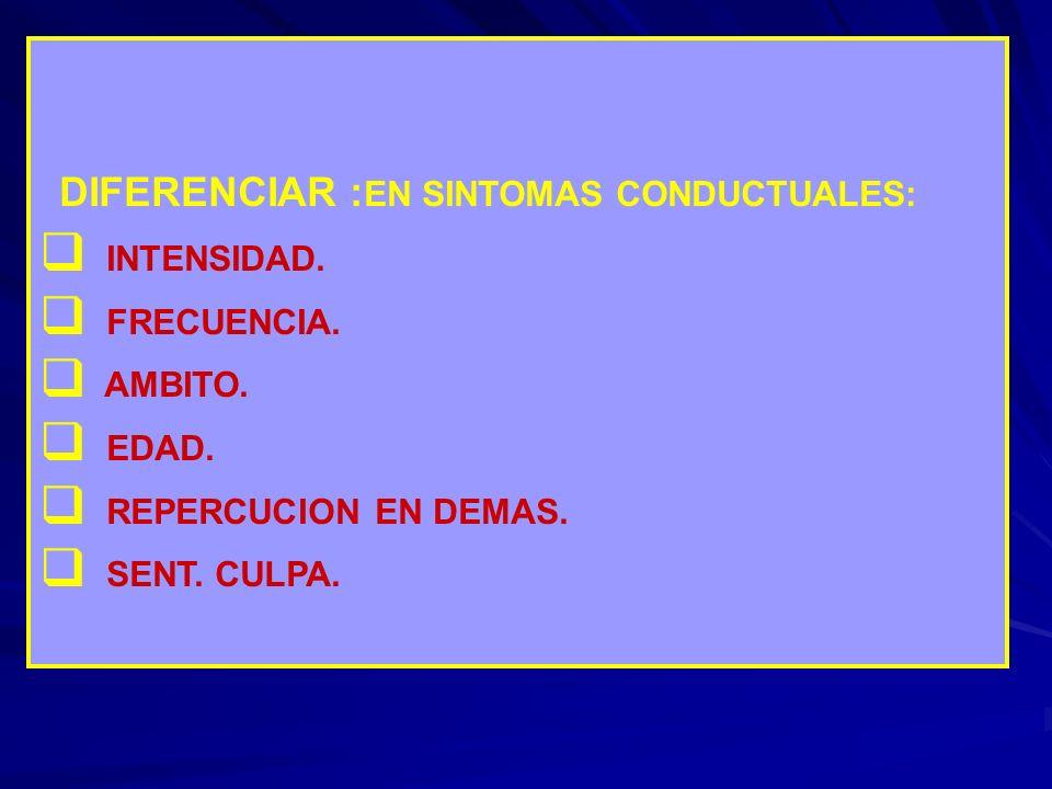 DIFERENCIAR : EN SINTOMAS CONDUCTUALES: INTENSIDAD. FRECUENCIA. AMBITO. EDAD. REPERCUCION EN DEMAS. SENT. CULPA.