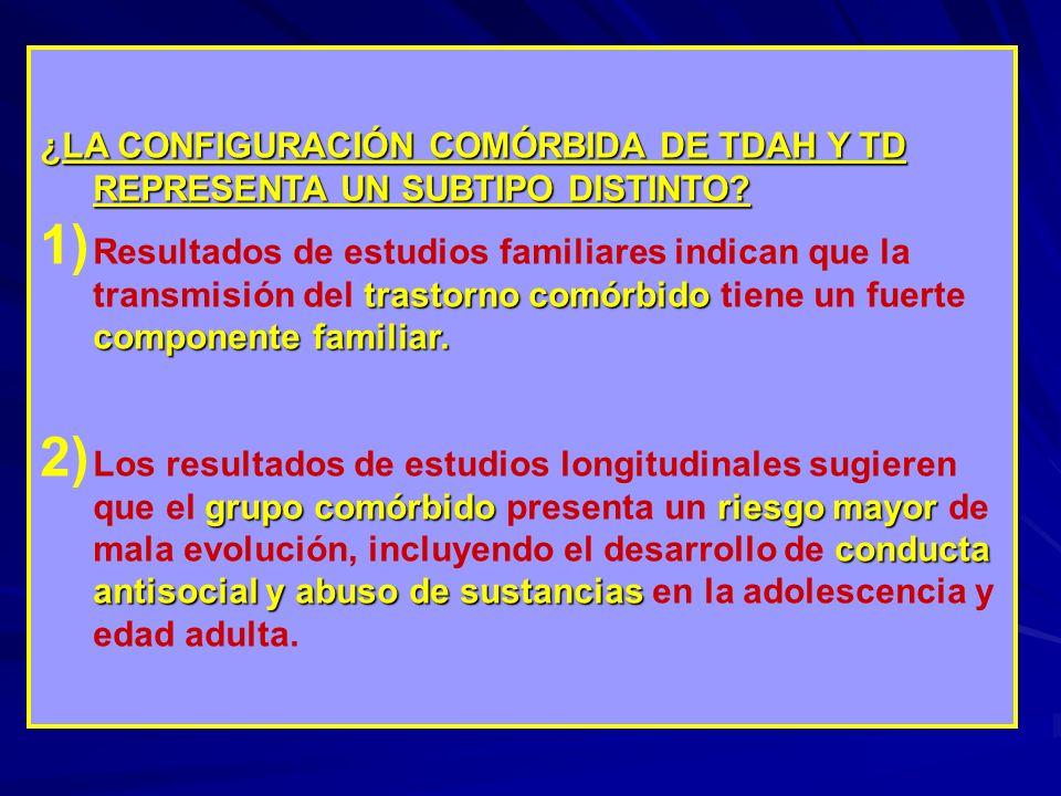 ¿LA CONFIGURACIÓN COMÓRBIDA DE TDAH Y TD REPRESENTA UN SUBTIPO DISTINTO? trastorno comórbido componente familiar. 1) Resultados de estudios familiares