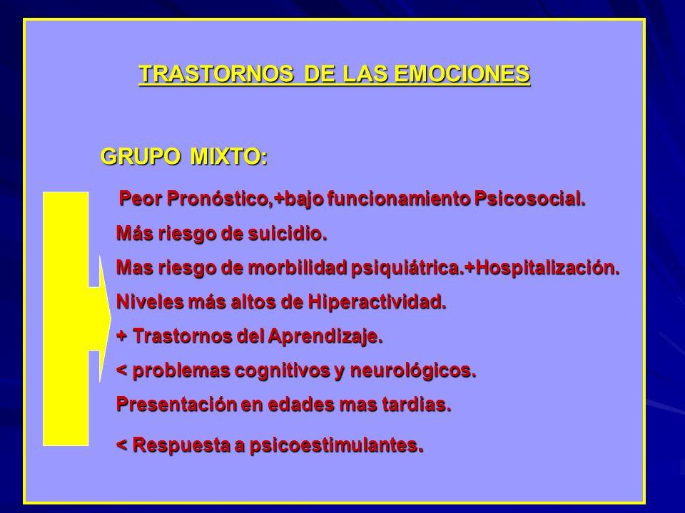 TRASTORNOS DE LAS EMOCIONES GRUPO MIXTO: Peor Pronóstico,+bajo funcionamiento Psicosocial. Más riesgo de suicidio. Más riesgo de suicidio. Mas riesgo