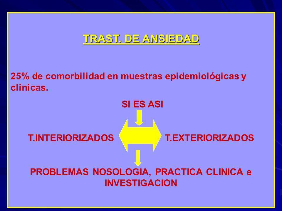 TRAST. DE ANSIEDAD 25% de comorbilidad en muestras epidemiológicas y clinicas. SI ES ASI T.INTERIORIZADOS T.EXTERIORIZADOS PROBLEMAS NOSOLOGIA, PRACTI