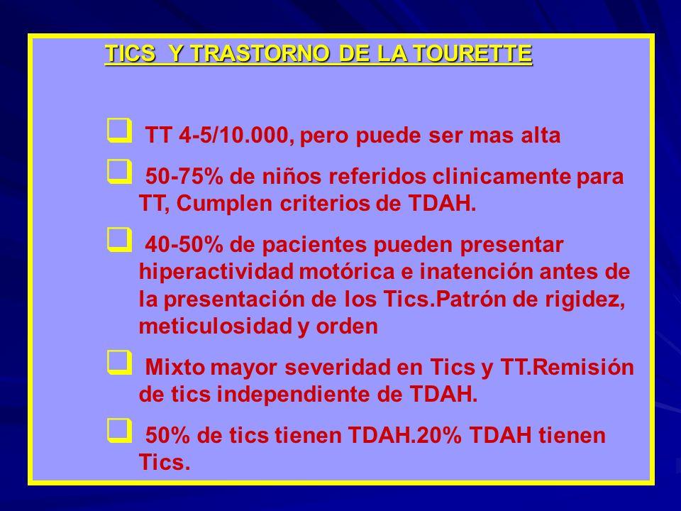 TICS Y TRASTORNO DE LA TOURETTE TT 4-5/10.000, pero puede ser mas alta 50-75% de niños referidos clinicamente para TT, Cumplen criterios de TDAH.