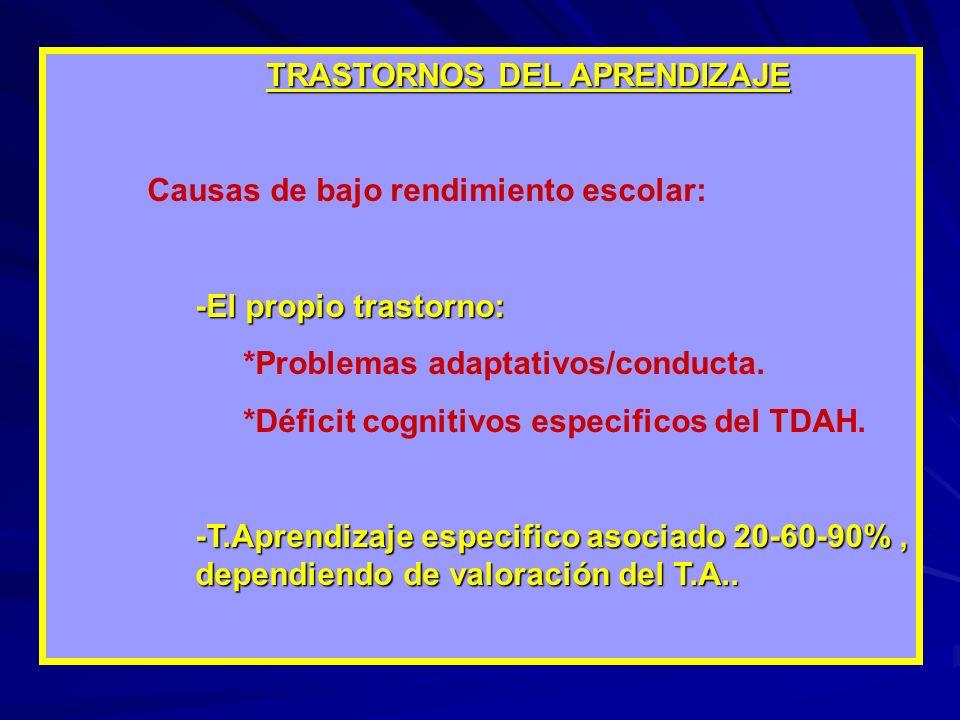 TRASTORNOS DEL APRENDIZAJE Causas de bajo rendimiento escolar: -El propio trastorno: *Problemas adaptativos/conducta. *Déficit cognitivos especificos