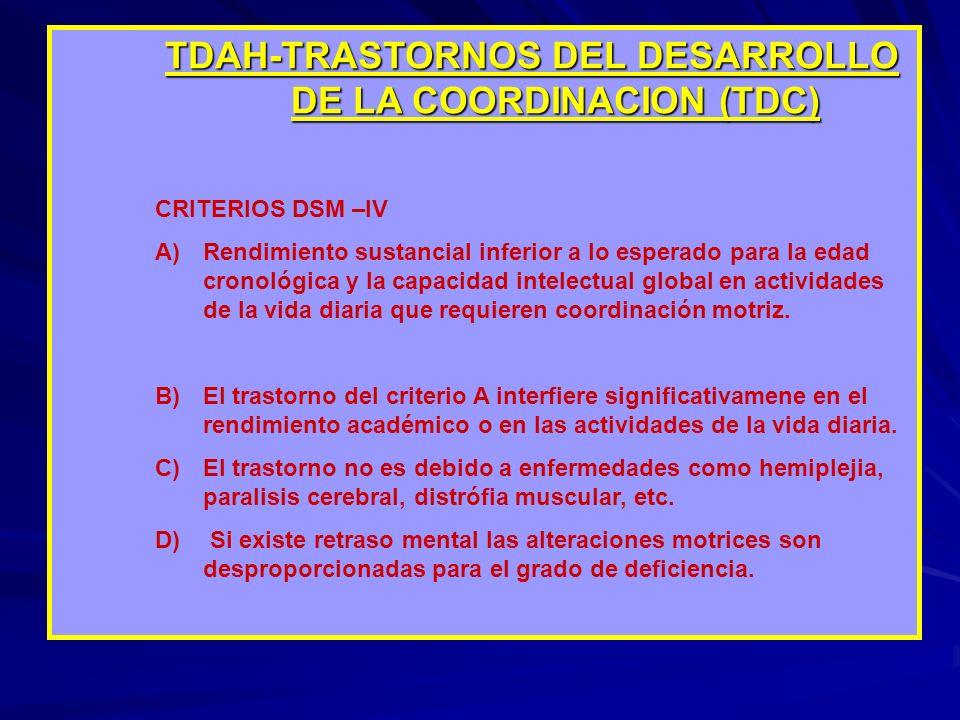 TDAH-TRASTORNOS DEL DESARROLLO DE LA COORDINACION (TDC) CRITERIOS DSM –IV A)Rendimiento sustancial inferior a lo esperado para la edad cronológica y l