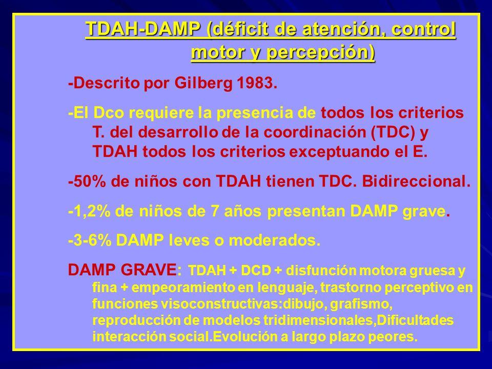 TDAH-DAMP (déficit de atención, control motor y percepción) -Descrito por Gilberg 1983. -El Dco requiere la presencia de todos los criterios T. del de