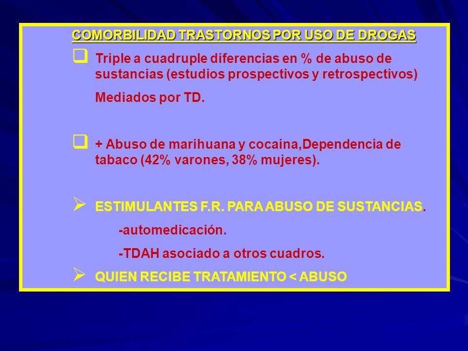 COMORBILIDAD TRASTORNOS POR USO DE DROGAS Triple a cuadruple diferencias en % de abuso de sustancias (estudios prospectivos y retrospectivos) Mediados por TD.