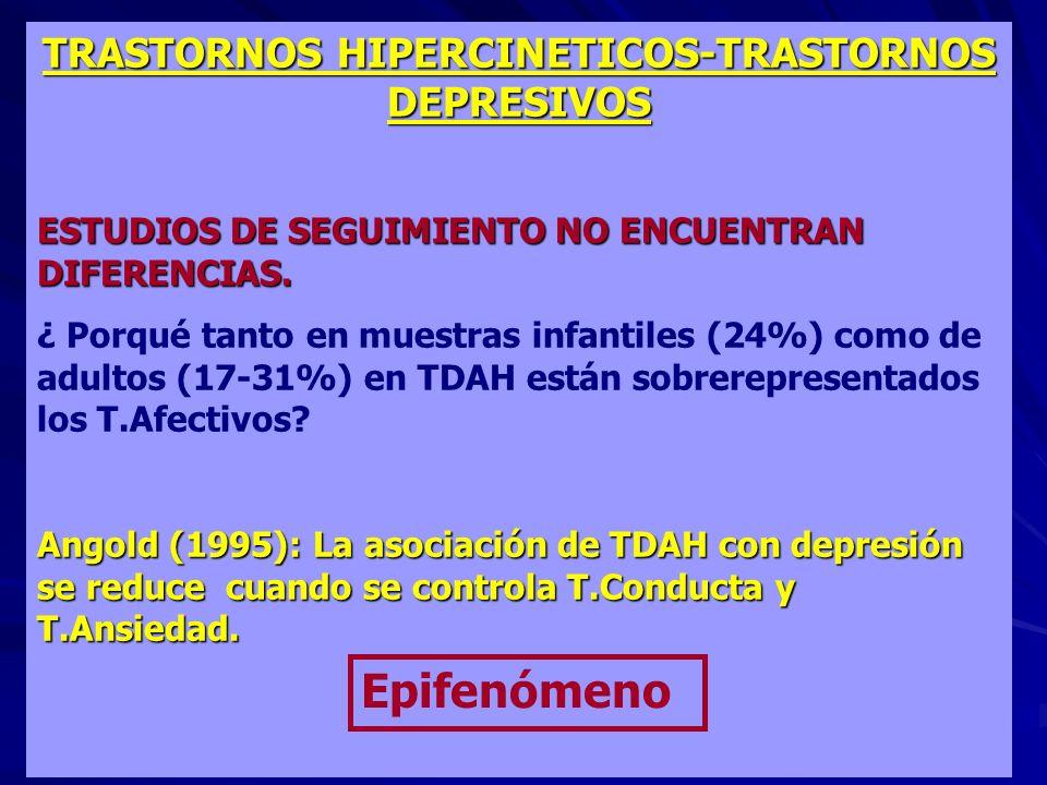 TRASTORNOS HIPERCINETICOS-TRASTORNOS DEPRESIVOS ESTUDIOS DE SEGUIMIENTO NO ENCUENTRAN DIFERENCIAS. ¿ Porqué tanto en muestras infantiles (24%) como de