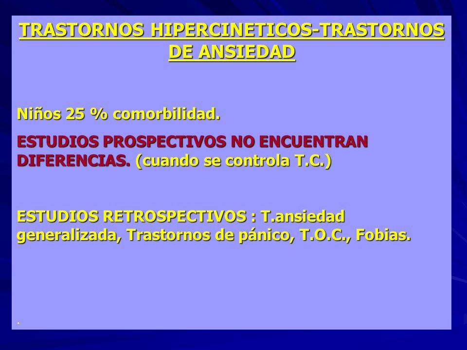 TRASTORNOS HIPERCINETICOS-TRASTORNOS DE ANSIEDAD Niños 25 % comorbilidad. ESTUDIOS PROSPECTIVOS NO ENCUENTRAN DIFERENCIAS. (cuando se controla T.C.) E