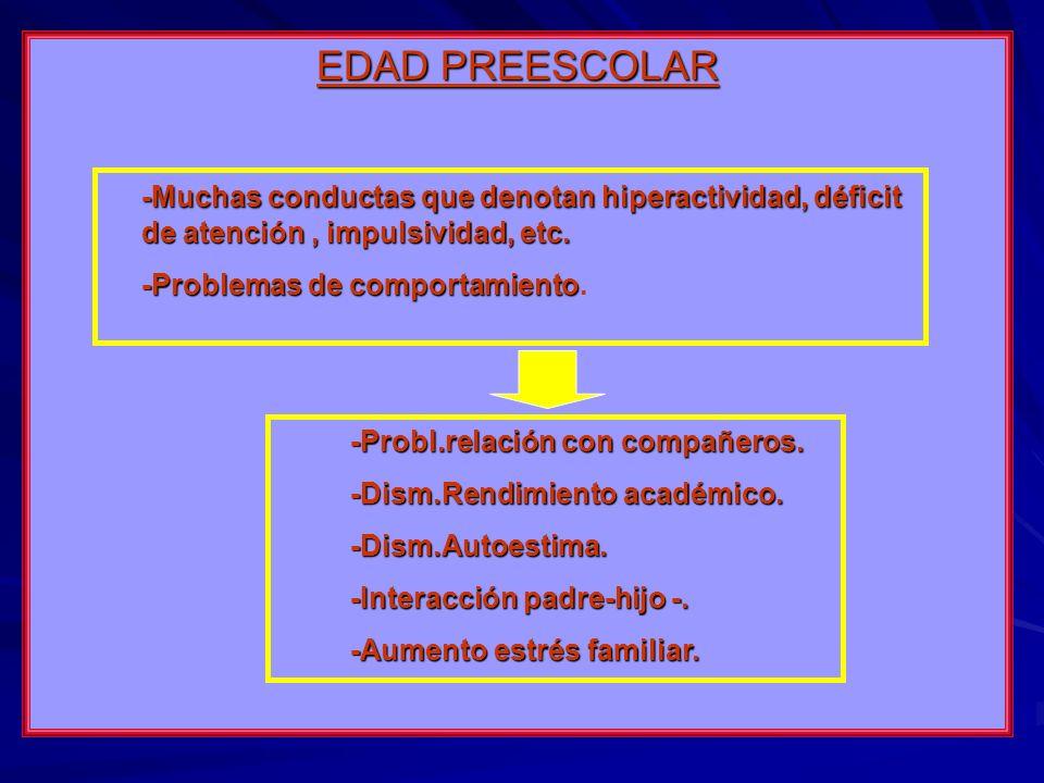 EDAD PREESCOLAR -Muchas conductas que denotan hiperactividad, déficit de atención, impulsividad, etc. -Problemas de comportamiento -Problemas de compo