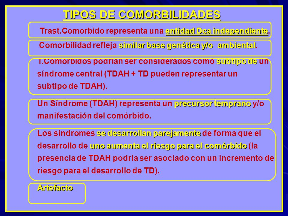 TIPOS DE COMORBILIDADES TIPOS DE COMORBILIDADES entidad Dca independiente Trast.Comorbido representa una entidad Dca independiente. similar base genét