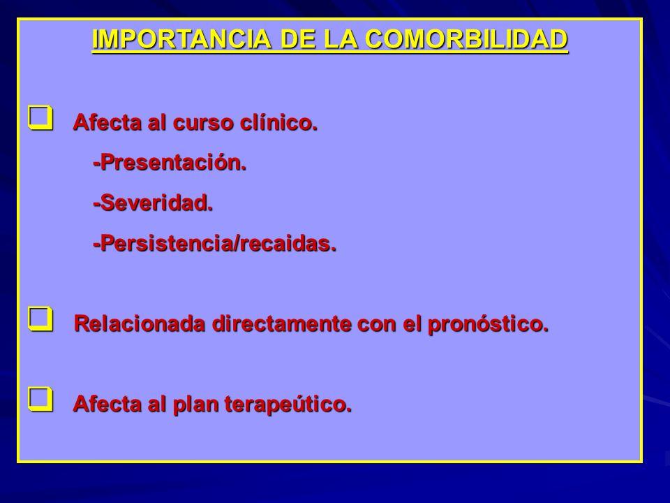 IMPORTANCIA DE LA COMORBILIDAD Afecta al curso clínico. Afecta al curso clínico.-Presentación.-Severidad.-Persistencia/recaidas. Relacionada directame