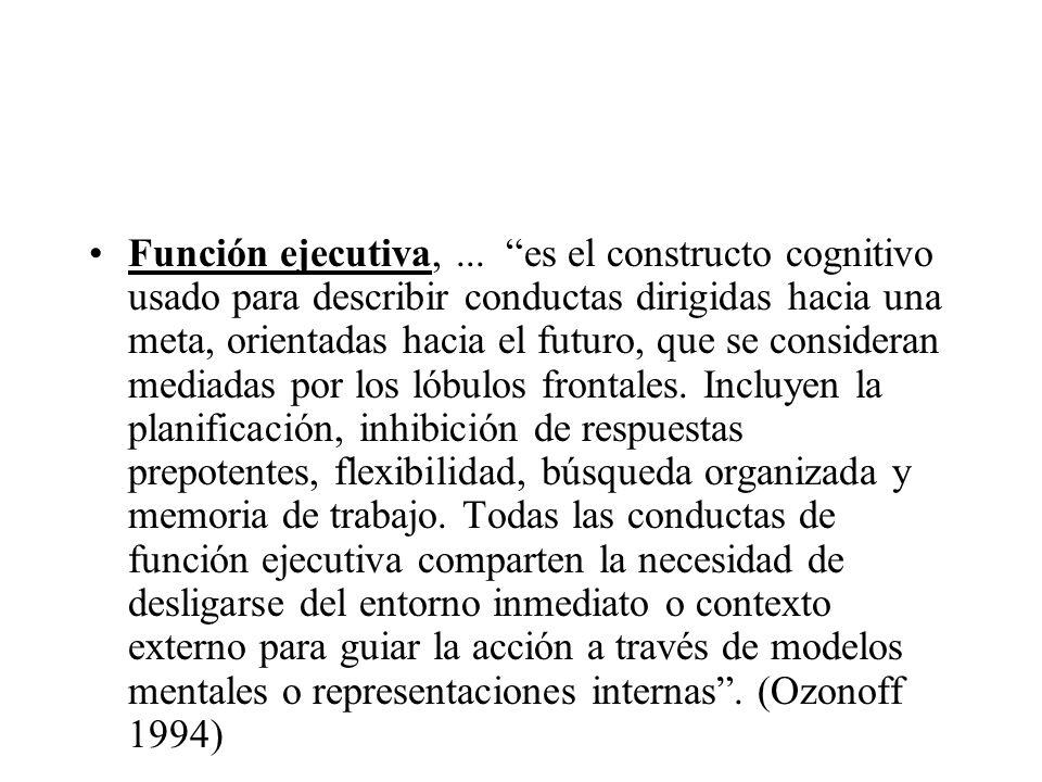Función ejecutiva,... es el constructo cognitivo usado para describir conductas dirigidas hacia una meta, orientadas hacia el futuro, que se considera
