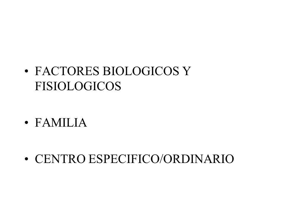 FACTORES BIOLOGICOS Y FISIOLOGICOS FAMILIA CENTRO ESPECIFICO/ORDINARIO
