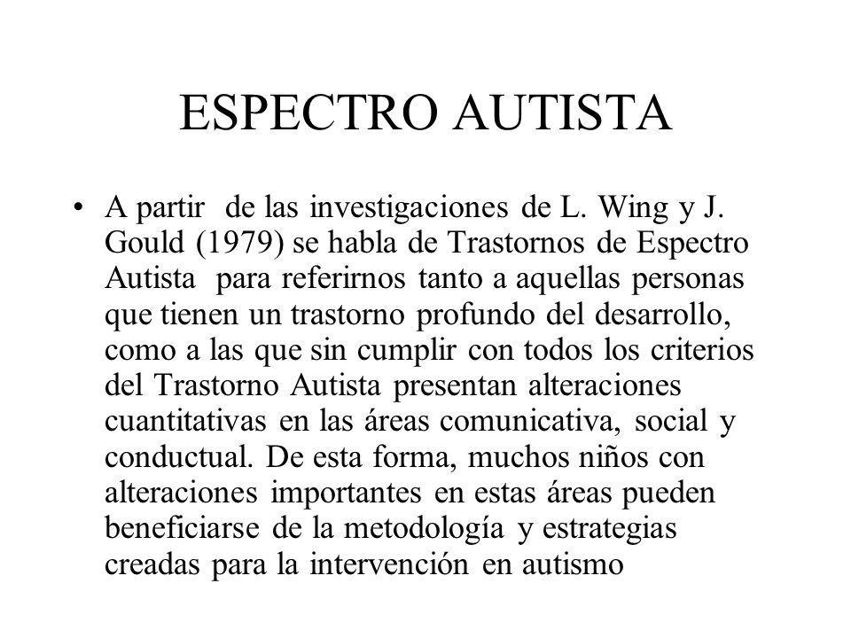 ESPECTRO AUTISTA A partir de las investigaciones de L. Wing y J. Gould (1979) se habla de Trastornos de Espectro Autista para referirnos tanto a aquel