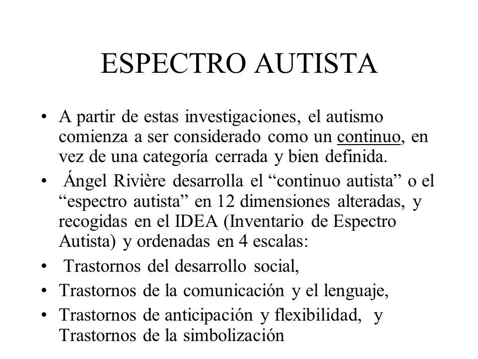 ESPECTRO AUTISTA A partir de estas investigaciones, el autismo comienza a ser considerado como un continuo, en vez de una categoría cerrada y bien def