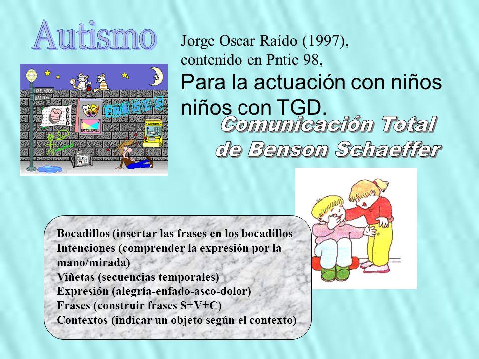 Bocadillos (insertar las frases en los bocadillos Intenciones (comprender la expresión por la mano/mirada) Viñetas (secuencias temporales) Expresión (alegría-enfado-asco-dolor) Frases (construir frases S+V+C) Contextos (indicar un objeto según el contexto) Jorge Oscar Raído (1997), contenido en Pntic 98, Para la actuación con niños niños con TGD.