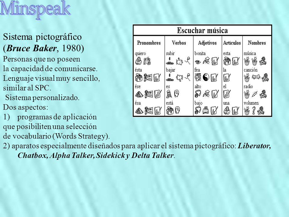 Sistema pictográfico (Bruce Baker, 1980) Personas que no poseen la capacidad de comunicarse. Lenguaje visual muy sencillo, similar al SPC. Sistema per