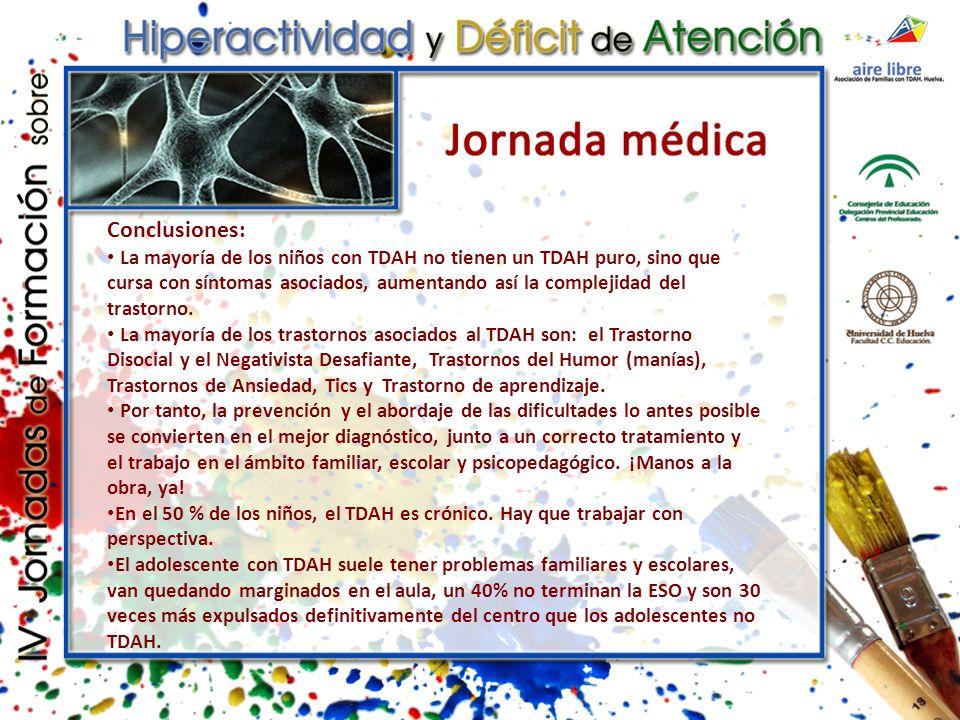 Conclusiones: La mayoría de los niños con TDAH no tienen un TDAH puro, sino que cursa con síntomas asociados, aumentando así la complejidad del trastorno.