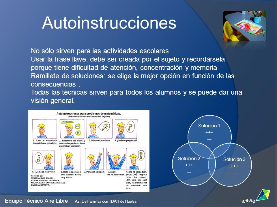 Autoinstrucciones No sólo sirven para las actividades escolares Usar la frase llave: debe ser creada por el sujeto y recordársela porque tiene dificul