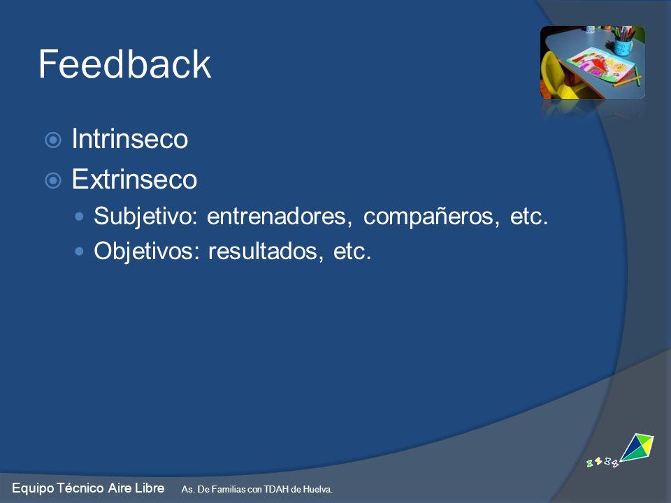 Feedback Intrinseco Extrinseco Subjetivo: entrenadores, compañeros, etc. Objetivos: resultados, etc. Equipo Técnico Aire Libre As. De Familias con TDA
