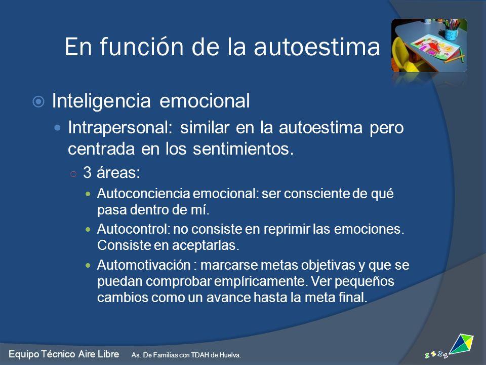 Inteligencia emocional Intrapersonal: similar en la autoestima pero centrada en los sentimientos. 3 áreas: Autoconciencia emocional: ser consciente de