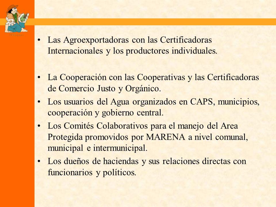 Las Agroexportadoras con las Certificadoras Internacionales y los productores individuales.