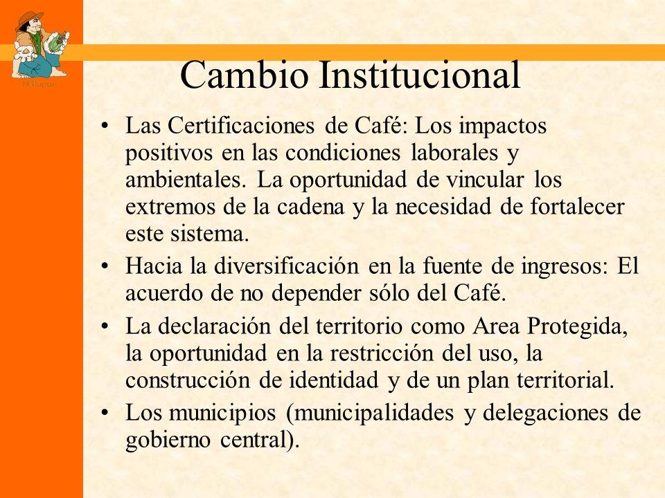 Cambio Institucional Las Certificaciones de Café: Los impactos positivos en las condiciones laborales y ambientales.