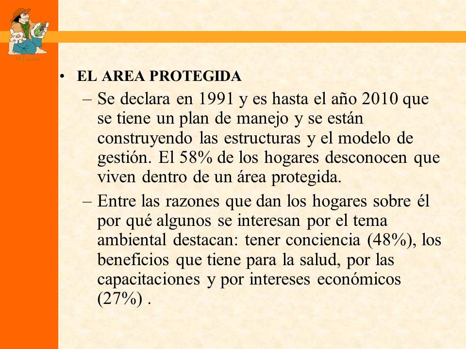 EL AREA PROTEGIDA –Se declara en 1991 y es hasta el año 2010 que se tiene un plan de manejo y se están construyendo las estructuras y el modelo de gestión.