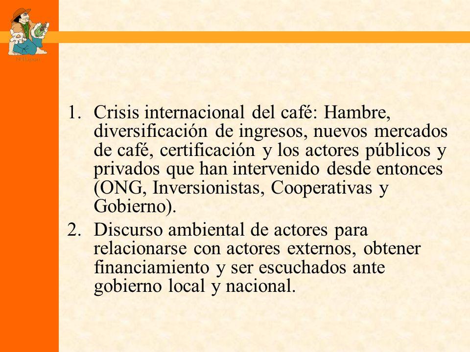 1.Crisis internacional del café: Hambre, diversificación de ingresos, nuevos mercados de café, certificación y los actores públicos y privados que han intervenido desde entonces (ONG, Inversionistas, Cooperativas y Gobierno).