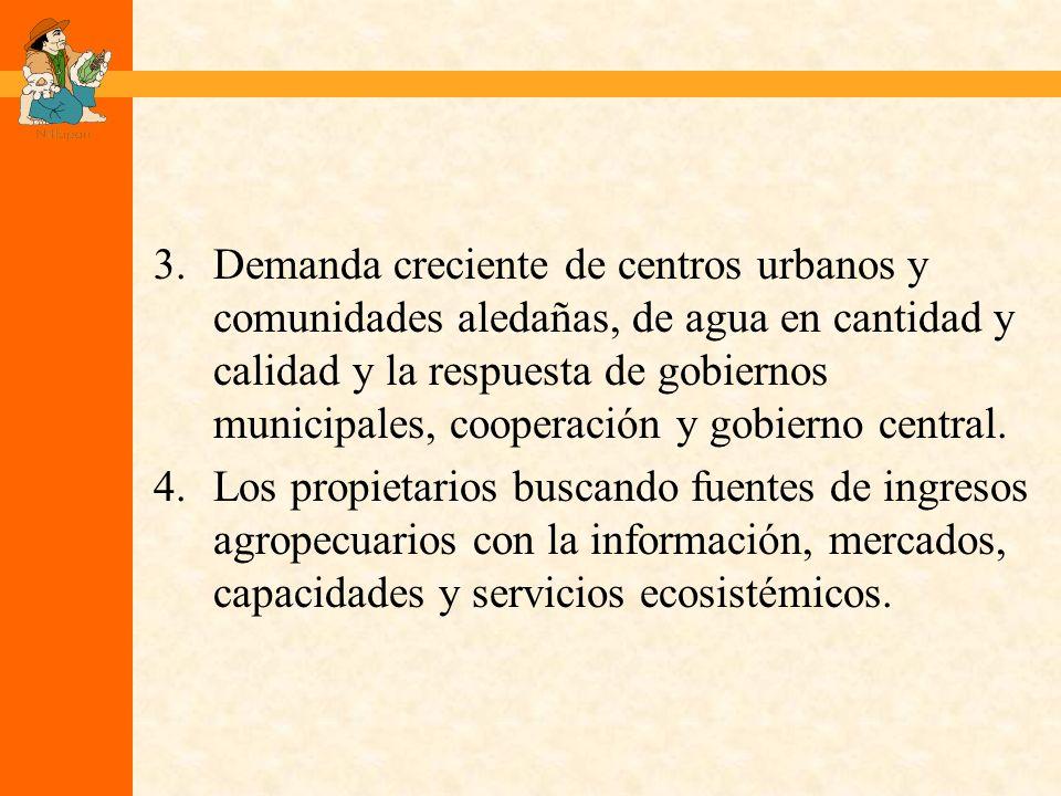 3.Demanda creciente de centros urbanos y comunidades aledañas, de agua en cantidad y calidad y la respuesta de gobiernos municipales, cooperación y gobierno central.