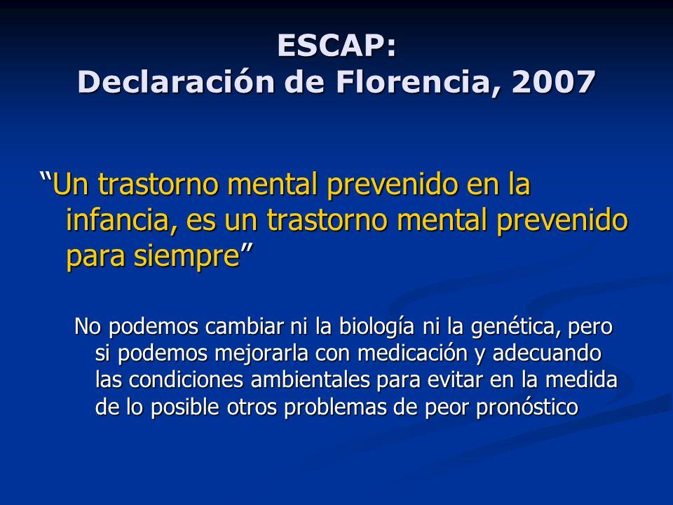 ESCAP: Declaración de Florencia, 2007 Un trastorno mental prevenido en la infancia, es un trastorno mental prevenido para siempreUn trastorno mental p