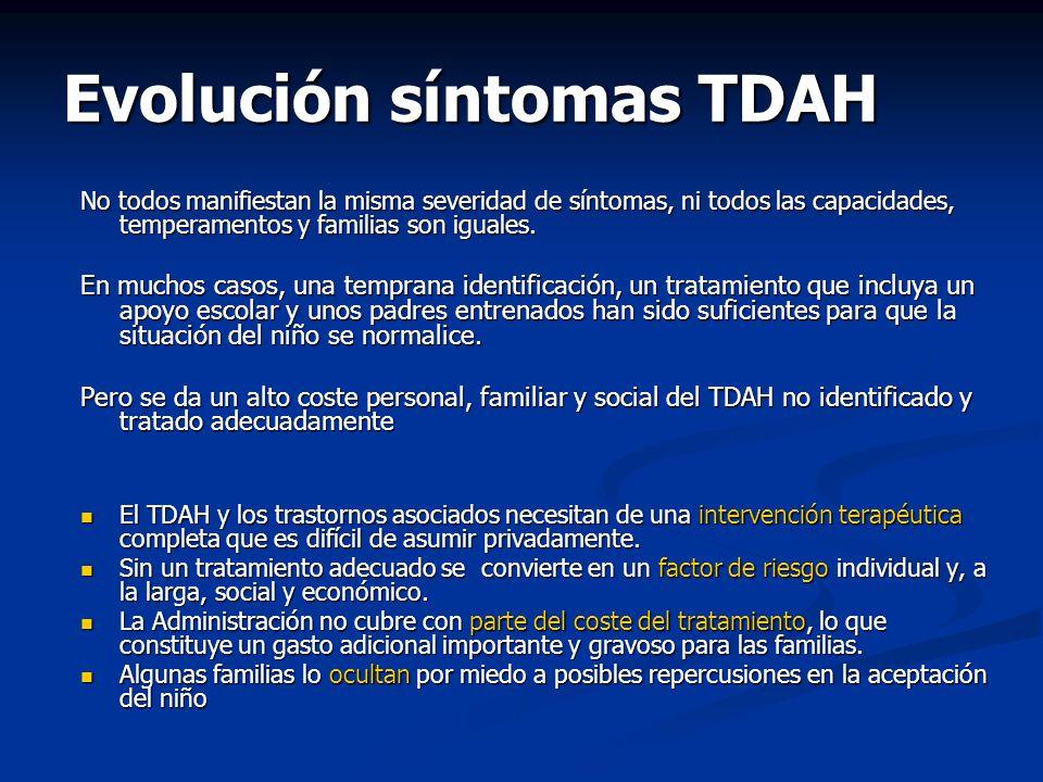 Evolución síntomas TDAH No todos manifiestan la misma severidad de síntomas, ni todos las capacidades, temperamentos y familias son iguales. En muchos