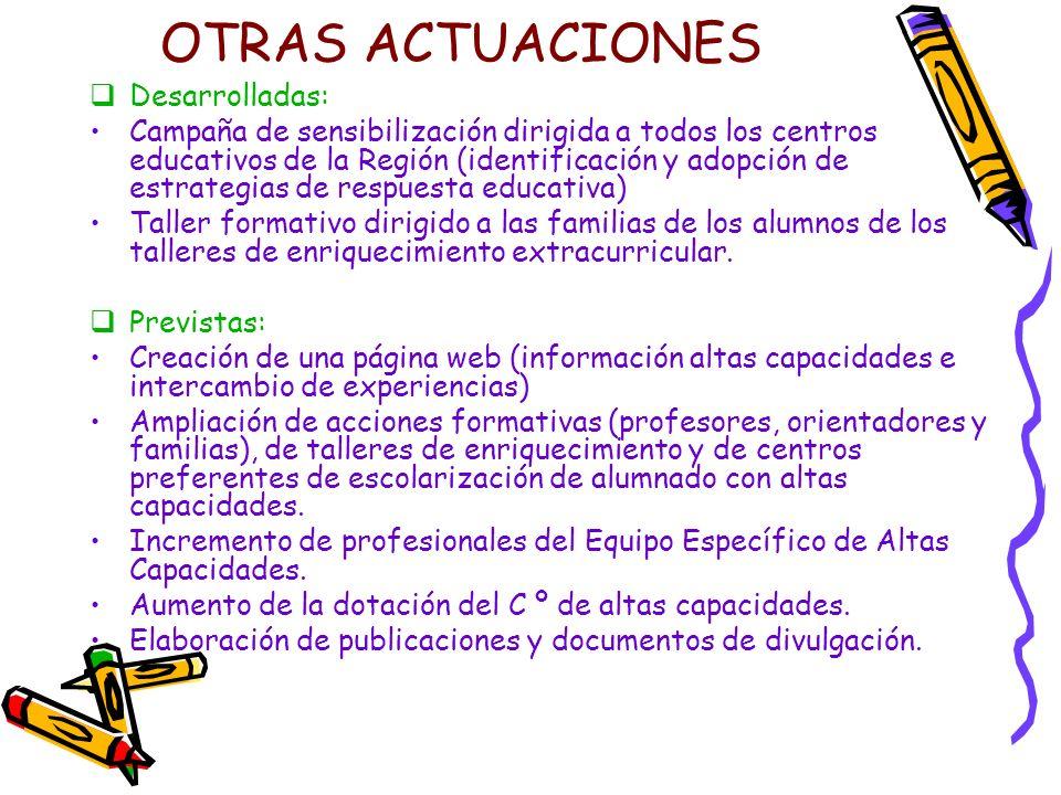 OTRAS ACTUACIONES Desarrolladas: Campaña de sensibilización dirigida a todos los centros educativos de la Región (identificación y adopción de estrate