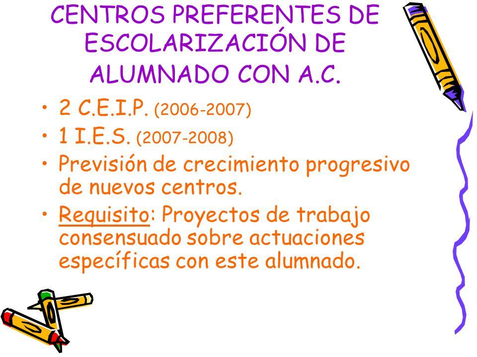 CENTROS PREFERENTES DE ESCOLARIZACIÓN DE ALUMNADO CON A.C. 2 C.E.I.P. (2006-2007) 1 I.E.S. (2007-2008) Previsión de crecimiento progresivo de nuevos c