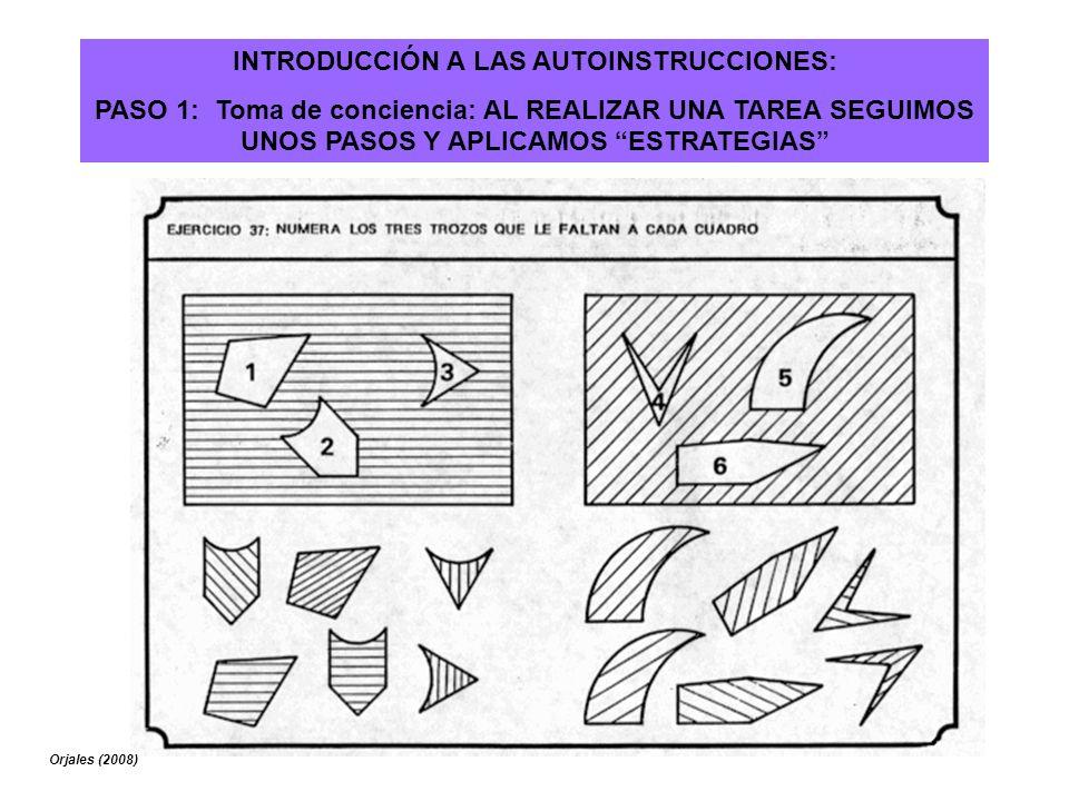 INTRODUCCIÓN A LAS AUTOINSTRUCCIONES: PASO 1: Toma de conciencia: AL REALIZAR UNA TAREA SEGUIMOS UNOS PASOS Y APLICAMOS ESTRATEGIAS Orjales (2008)